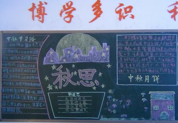 中秋节黑板报插图