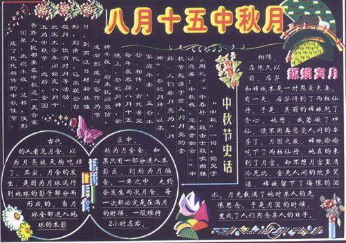 中秋黑板报版式设计示例