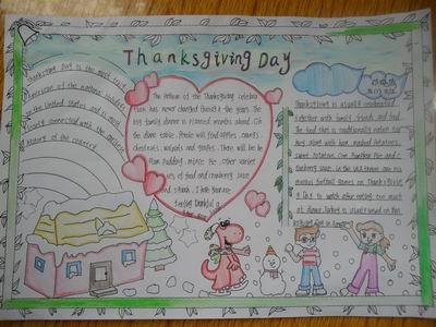 感恩节中英文的手抄报