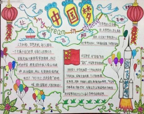 庆元旦中国梦手抄报
