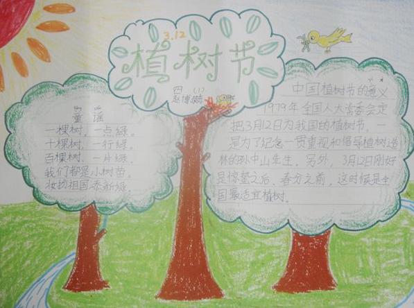 植树的黑板报-植树节 手抄报 小学生图片